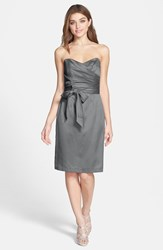 Women's Dessy Collection Cross Draped Strapless Satin Sheath Dress Charcoal Grey