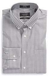 Men's Big And Tall Nordstrom Non Iron Trim Fit Gingham Dress Shirt Grey Castlerock