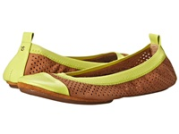 Yosi Samra Samantha Perforated Leather Fold Up Flat With Cap Toe Sienna Limette Women's Flat Shoes Brown
