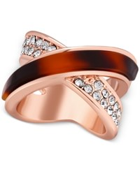 Guess Rose Gold Tone Red Tortoiseshell Look And Pave Crisscross Statement Ring Multi