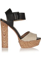 Schutz Ermana Canvas And Leather Sandals