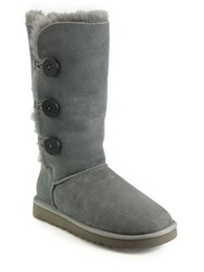 Ugg Tall Bailey Button Triplet Suede And Sheepskin Boots Chestnut Grey Black