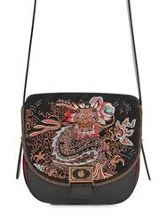 Etro Medium Dragon Embroidered Leather Bag
