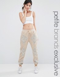 Starry Eyed Petite Joggers With All Over Heavy Embellishment And Beaded Applique Blush Pink