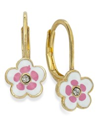 Lily Nily Children's 18K Gold Over Sterling Silver Earrings White And Pink Enamel Flower Earrings