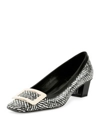 Roger Vivier Belle Vivier Tweed Print Pump Black White
