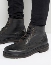 Selected Homme Stephan Leather Brogue Boots Black