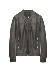 Forzieri Gray Leather Motorcycle Jacket