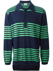 Christopher Shannon Striped Polo Sweater Blue