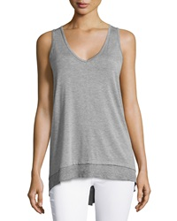 Neiman Marcus High Low V Neck Tank Heather Gray