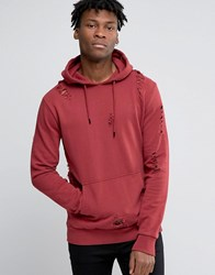 Criminal Damage Hoodie With Distressing Red