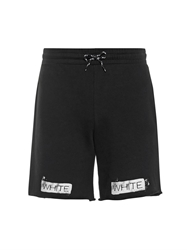 Off White Printed Cotton Jersey Track Shorts