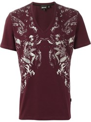 Just Cavalli Printed V Neck T Shirt Pink And Purple