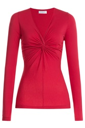 Velvet Cotton Top With Knotted Accent Red