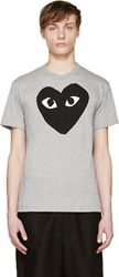 Comme Des Garcons Heather And Black Heart Logo T Shirt
