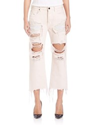 Alexander Wang Denim X Rival Distressed Wide Leg Culotte Jeans Carnation
