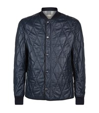 Burberry Quilted Leather Bomber Jacket Male Blue