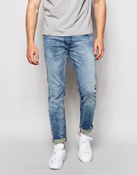 Jack And Jones Jack And Jones Vintage Wash Jeans In Slim Fit With Stretch Light Blue