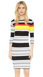 Edition10 Short Sleeve Striped Dress Black White Stripe