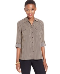 Ny Collection Petite Roll Tab Utility Shirt Cuban Stripe