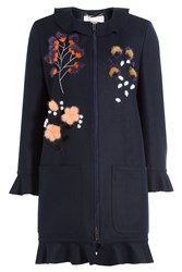 Fendi Fleece Wool Coat With Cashmere Blue