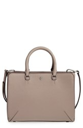 Tory Burch 'Small Robinson Zip' Leather Tote Grey French Grey