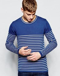 Solid Breton Stripe Knitted Jumper Blue