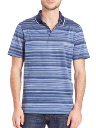 Saks Fifth Avenue Pique Striped Polo Blue
