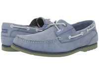Rockport Summer Tour 2 Eye Boat Shoe Light Blue Nubuck Green Men's Shoes Gray