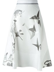 Thom Browne Flare Skirt With Grossgrain Waistband White