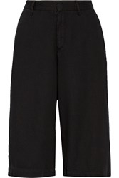 Rag And Bone Cropped Cotton And Linen Blend Wide Leg Pants Black