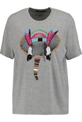 Markus Lupfer Embellished Printed Cotton T Shirt Gray