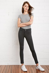 Forever 21 Skinny Heathered Pants Charcoal Heather