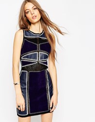 Asos Bodycon Dress In Patchwork Pu Suedette And Crochet Multi