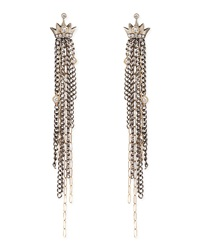 Pave Diamond Crown Earrings With Chain Fringe Drops Irit Design