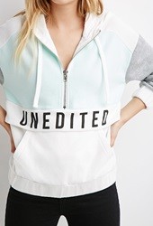 Forever 21 Unedited Graphic Colorblock Hoodie White Multi