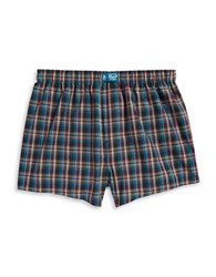 Original Penguin Cotton Plaid Boxers Mideval Blue