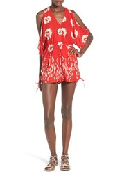 Women's Band Of Gypsies Floral Print Cold Shoulder Romper