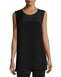 Caroline Rose Crepe Tunic Tank Black Women's