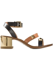 L'autre Chose Metallic Chunky Heel Sandals