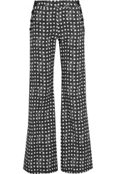 Max Mara Printed Stretch Cotton Twill Wide Leg Pants Midnight Blue