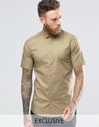 Only And Sons Skinny Smart Short Sleeve Shirt Tan