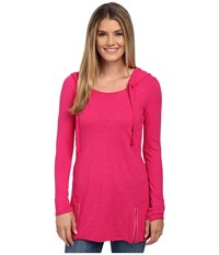 Mod O Doc Hooded Tunic With Zipper Hem Lotus Women's Blouse Pink