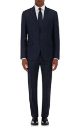 Barneys New York Men's Plaid Wool Two Button Suit Navy