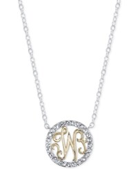 Unwritten Initial 'W' Pendant Necklace With Crystal Pave Circle In Sterling Silver And Gold Flash Two Tone