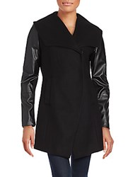 Dawn Levy Cece Wool Blend And Faux Leather Jacket Black