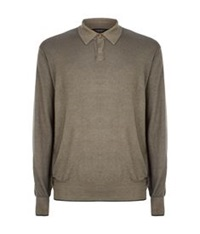 Stefano Ricci Cashmere Silk Washed Polo Shirt Brown