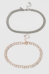 Topshop Metal Chain Choker Mixed Metal