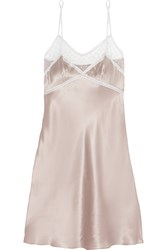 Mimi Holliday Sweet Pea Lace Trimmed Tulle And Silk Satin Chemise Nude