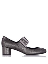 Lanvin Buckle Detail Metallic Nappa Pumps Silver